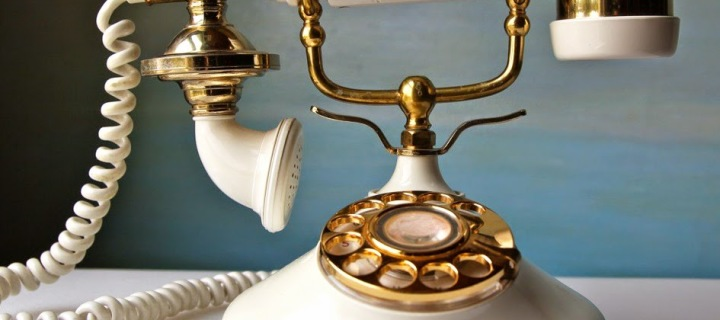 Vintage French Style Phone. Nostalgic Cream and Gold1